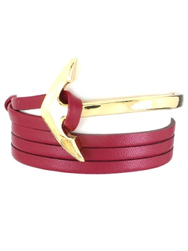 Navy Style Anchor Design Leather Bracelet