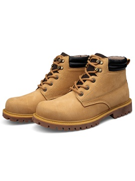Pu Color Plain Round Toe Mens Boots