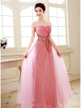 Charming A Line Sweetheart Appliques Beading Floor Length Prom Dress