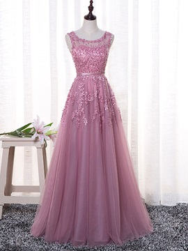 Exquisite A Line Scoop Appliques Pearls Sashes Floor Length Evening Dress