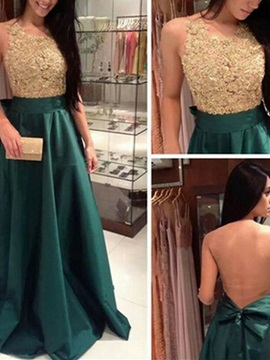 Gorgeous A Line Scoop Appliques Bowknot Sashes Floor Length Prom Dress