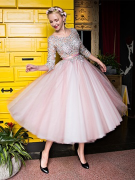 Charming A Line Bateau 3 4 Length Sleeves Appliques Beading Lace Tea Length Prom Dress