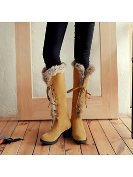Suede Lace Up Front Block Heel Snow Boots