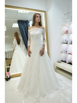 Beautiful Off The Shoulder Appliques A Line Wedding Dress