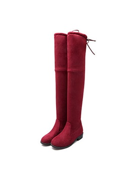 Suede Slip On Block Heel Thigh High Fashion Boots