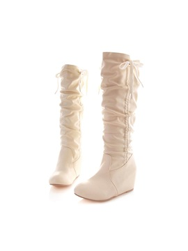 Pu Slip On Ruched Wedge Knee High Shoes