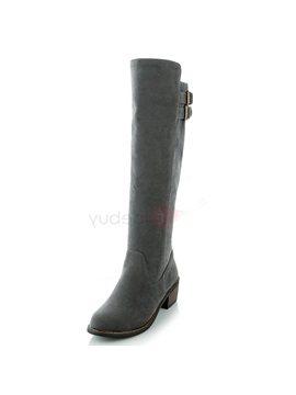 Pu Slip On Thread Block Heel Knee High Fahion Boots