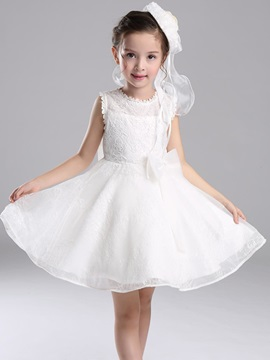 White Lace Bow Sleeveless Girls Princess Dress