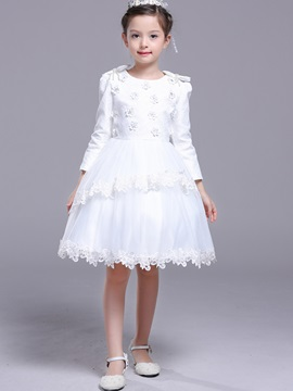 Flower Lace Long Sleeve Girls Dress