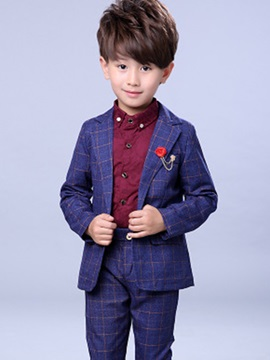 Chic Plaid One Button Boys 2 Piece Outfit