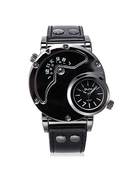 Double Movement Black Surface Mens Watch