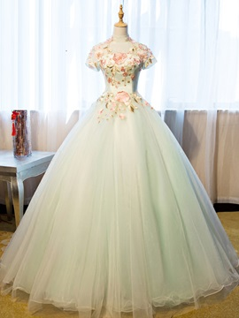 Elegant High Neck Ball Gown Short Sleeves Appliques Flowers Long Quinceanera Dress