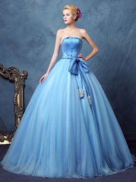 Wonderful Strapless Ball Gown Bowknot Button Pearls Floor Length Quinceanera Dress