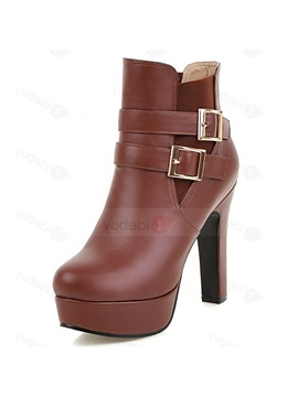 Pu Slip On Chunky Ultra High Heel Ankle Boots