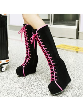 Suede Lace Up Front Platform Wedge Heel Fashion Shoes