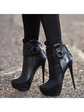 Pu Back Zip Stiletto Ankle Womens Black Boots