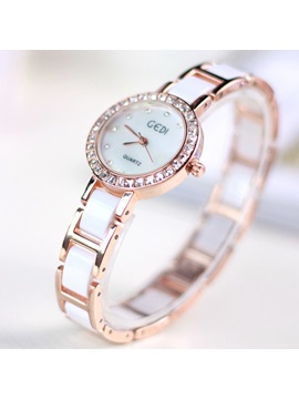 Fashion Ceramic Band Diamante Womens Watch