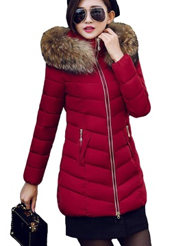 Stylish Faux Fur Mid Length Hooded Cotton Overcoat
