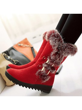 Suede 3d Slip On Chunky Wedge Heel Snow Boots