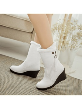 Pu Slip On Zipper Thread Wedge Heel Ankle Boots