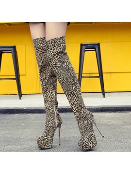 Suede Leopard Side Zipper Thread Thigh High Boots