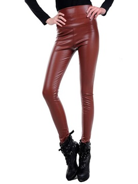 High Waist Slim Polyester Candy Color Leggings