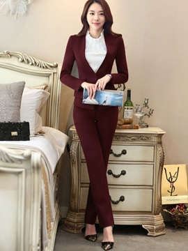 Single Button Lapel Shirt Pants Suit