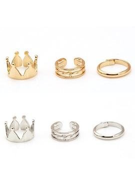 Fashion Crown Three Pieces Ring Set