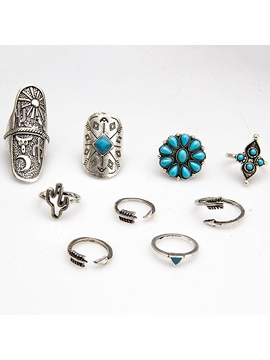 Exaggerated Alloy Beads Nine Pieces Ring Set