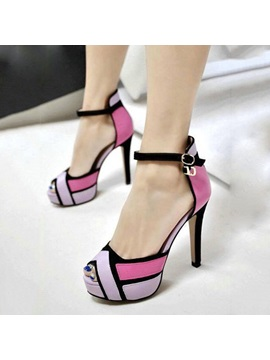 Pu Peep Toe Line Style Buckle High Heel Pumps