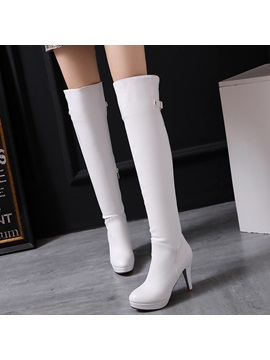 Pu Side Zipper Thread Stiletto Heel Thigh High Boots