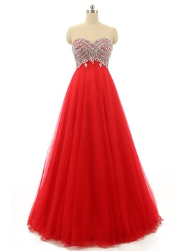 Pretty A Line Sweetheart Beading Crystal Long Prom Dress