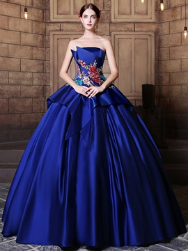 Elegant Strapless Ball Gown Embroidery Pick Ups Floor Length Quinceanera Dress