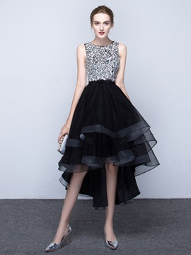 Lovely Scoop A Line Beading Asymmetry Prom Dress
