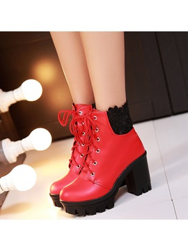 Pu Lace Lace Up Front Thread Block Heel Boots