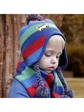 Car Decorated Earcuff Warm Kids Hat Scarf