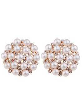 Round Pearl Diamante Stud Earrings
