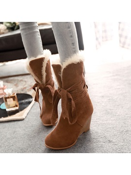 Pu Lace Up Front Womens Wedge Boots