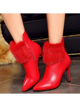 Pu Side Zipper Stiletto Heel Womens Snow Boots