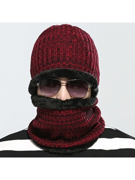 Solid Color Thicken Mens Knitted Hat With Neck Warmer