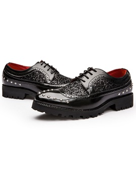 Pu Rhinestone Sequin Mens Fashion Shoes