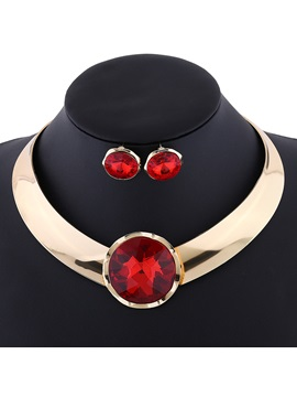 Punk Style Gemstones Inlaid Golden Jewelry Set