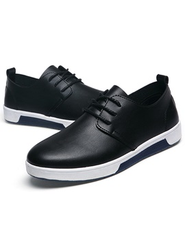 Pu Solid Color Lace Up Shoes For Men