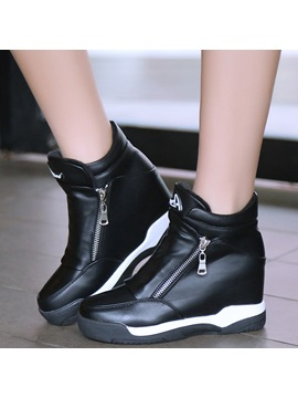 Pu Side Hidden Elevator Heel Shoes For Women