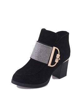 Pu Side Zipper Rhinestone Womens Boots