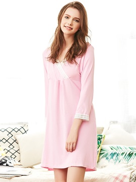 V Neck 3 4 Sleeve Lace Maternity Sleepwear