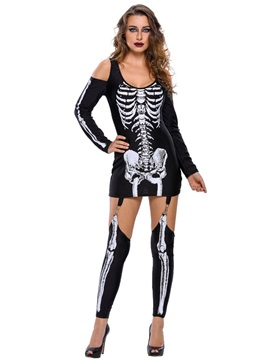 Strapless Skeleton Print Holloween Costume