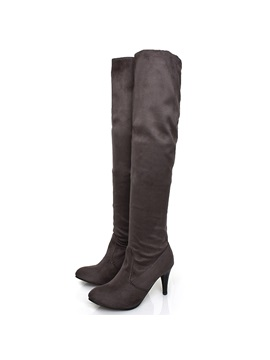 Pu Ruched Slip On Womens Knee High Boots
