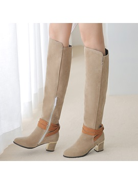 Pu Side Zipper Buckle Womens Knee High Boots