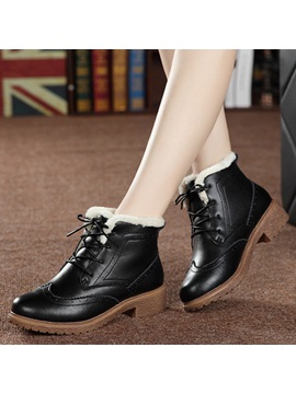 Pu Lace Up Front Womens Winter Boots